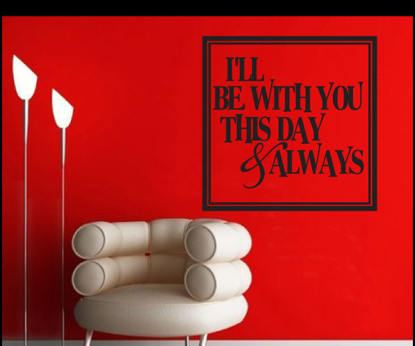 I'll be Vinyl Wall Decal lo023illbewithvi, Red, 18 in. contemporary-wall-decals