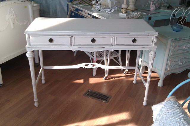 Antique desk shabby chic white distressed eclectic desks and - Antique white office desk ...