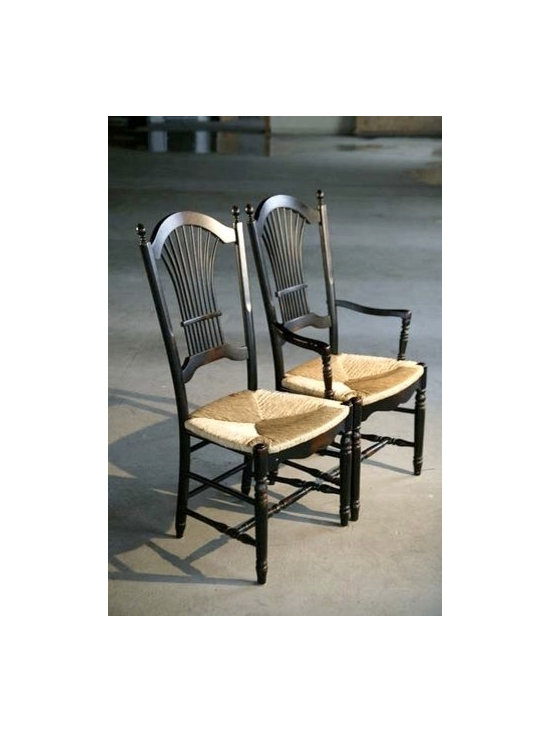 Fan Back Dining Chairs With Rush Seat - Made by http://www.ecustomfinishes.com