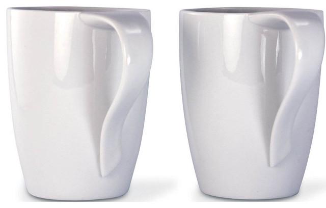 12 oz White Porcelain Mug - Set of 2 contemporary-coffee-and-tea-makers