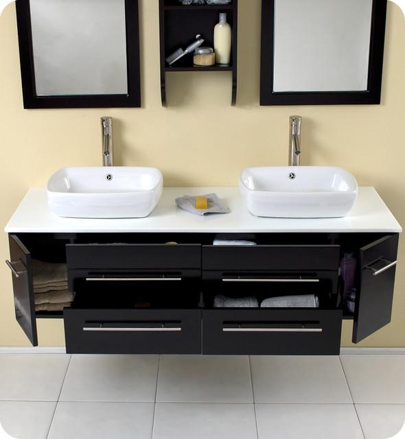 "59"" Bellezza Double Vessel Sink Vanity - Espresso (FVN6119ES) modern"