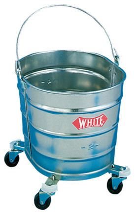 """Bucket/ Galvanized 26 T Oval with 2"""" Casters modern-mops-brooms-and-dustpans"""