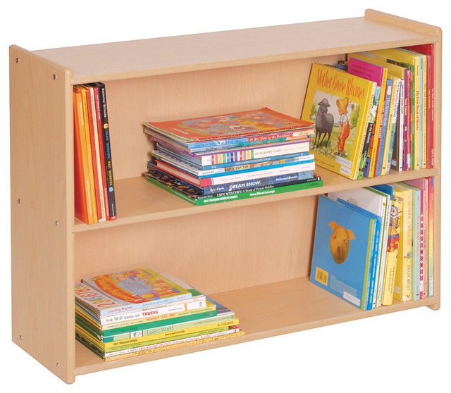 Steffywood kids toy books organizer narrow 2 shelf wooden for Toy and book storage