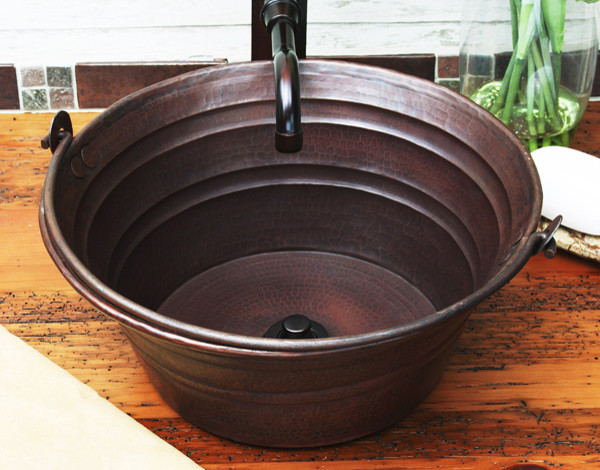 Copper Bucket Sink Rustic Bathroom Sinks Other Metro