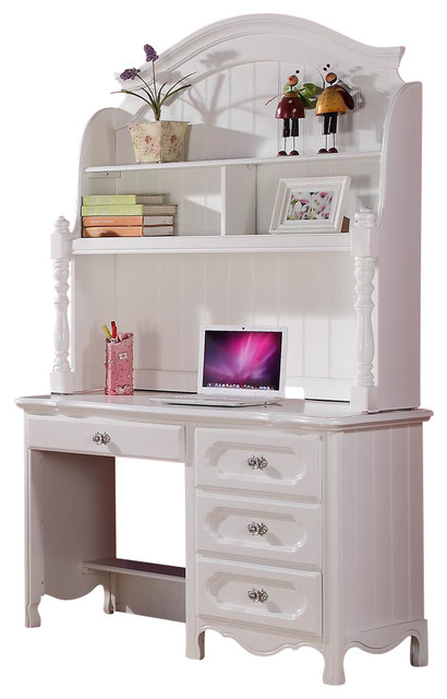 Homelegance Hayley 4 Drawer Kids' Desk with Hutch in White traditional ...