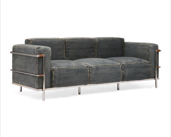 Zuo Modern - Denim Sofa - A modern version of a traditional club chair with a casual twist! The chrome frames are on the outside on this sofa, offering the thick, resilient denim upholstered pillows to surround the surface. Comes in a sofa, love seat, and an armchair. Certain to be a conversation piece in your beach home!