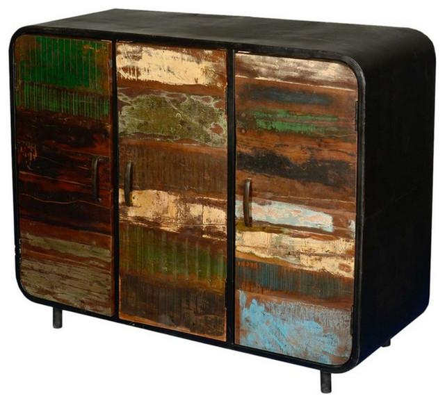 Retro reclaimed wood iron 3 door industrial sideboard for Buffet industriel metal