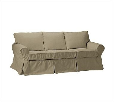 PB Basic Sleeper Sofa Slipcover Washed Linen Cotton Seagrass Traditional Sleeper Sofas
