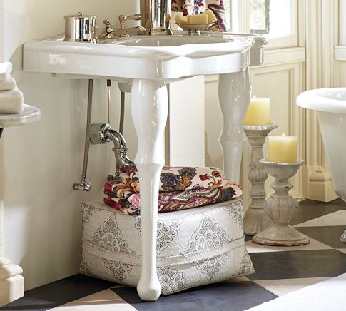 Parisian Pedestal Single Sink Console - traditional - bathroom