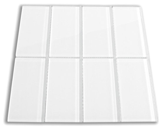 "White 3"" x 6"" Glass Subway Tile - The White Subway Tile is made from the strongest stain-resistant crystal clear glass. These tiles have a 8mm thickness that increases their durability and the depth of their color making them truly beautiful subway tiles. These subway tiles can be used for commercial or residential construction in either a wet or dry environment. Our White Glass Subway tile is a super white tile and can be directly compared to Lush™ Cloud at $24.95."