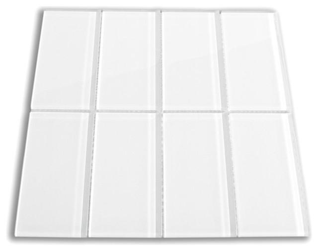 "White 3"" x 6"" Glass Subway Tile contemporary-tile"