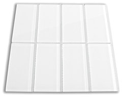 White 3 x 6 Glass Subway Tile contemporary kitchen tile