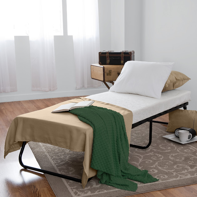 Priage Home Portable Folding Guest Bed With Wood Slats