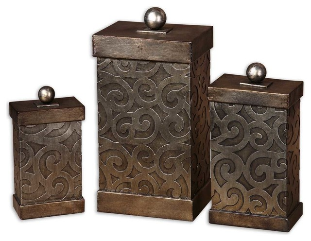 Decorative Box Lid : Nera metal decorative boxes set of traditional