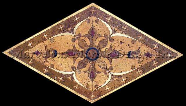 Catania Custom Marble Floor Medallion traditional