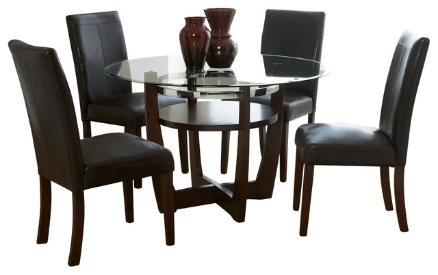 Standard Furniture Apollo 5-Piece Dining Room Set in Brown Cherry traditional-dining-sets