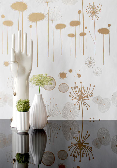 Fairy Flower (Gold) by Ferm Living eclectic wallpaper