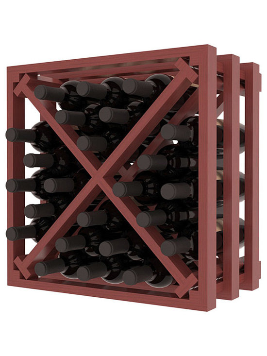 Lattice Stacking X Wine Cube in Pine with Cherry Stain + Satin Finish - Designed to stack one on top of the other for space-saving wine storage our stacking cubes are ideal for an expanding collection. Use as a stand alone rack in your kitchen or living space or pair with the 16-Bottle Cubicle Wine Rack and/or the Stemware Rack Cube for flexible storage.