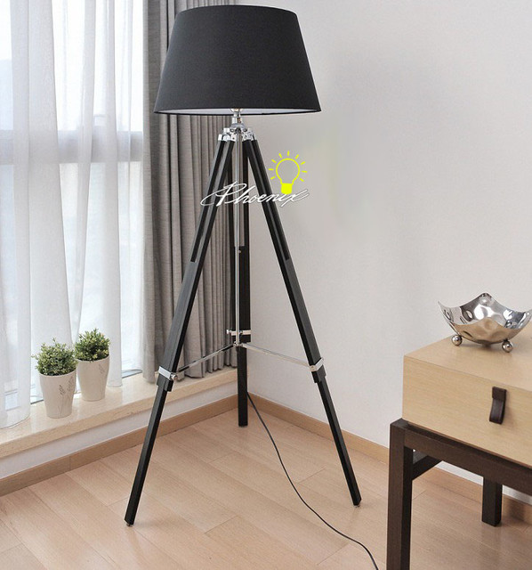 Wood tripod and metal with the Black and White Fabric Shape Floor ...
