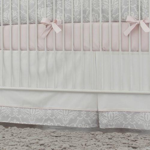 Nursery Decor Tour: Pink And Gray Damask Crib Skirt