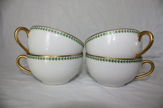 Vintage Teacups, Green Gold Leaf Design by Nikki's Fun Finds, Set of 4 contemporary-cups-and-glassware