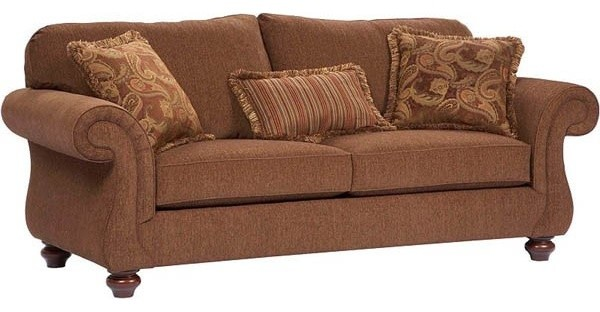 Broyhill Furniture - Cierra Traditional Style w Cherry Stain Finish Fabric Sofa - Traditional ...