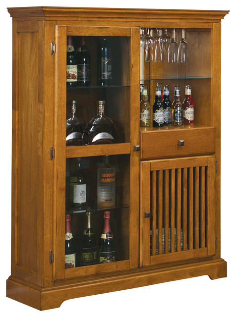 Meadowbrook Bar Cabinet Curio by Coaster - Contemporary - Wine Racks - by Madison Seating