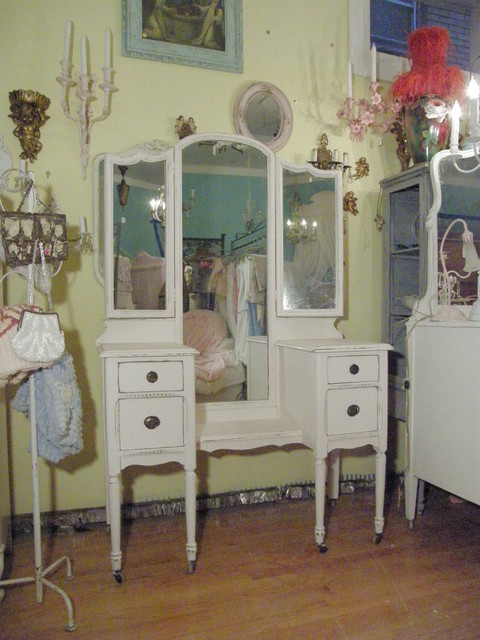 antique vanity dressing table shabby chic pink distressed eclectic-bedroom-and-makeup-vanities