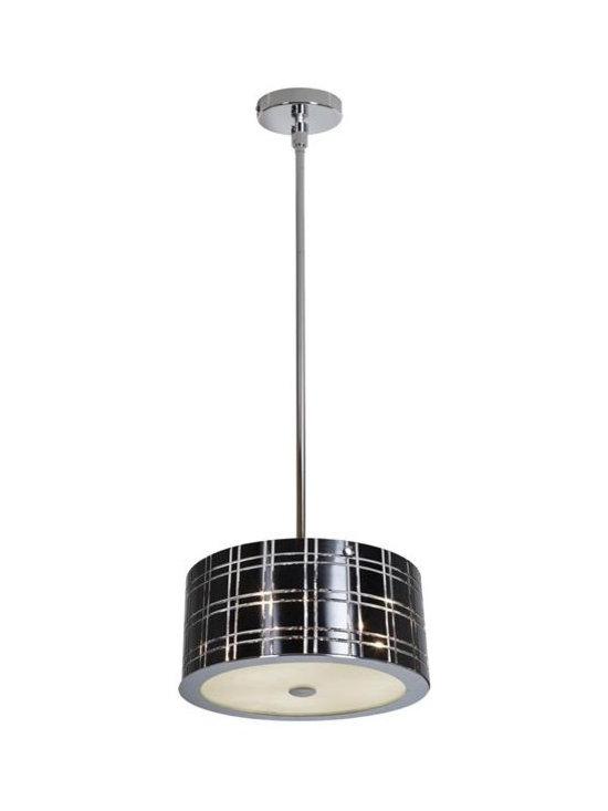 Access Lighting 50975-CH/BL Three Light Chrome Drum Shade Pendant -