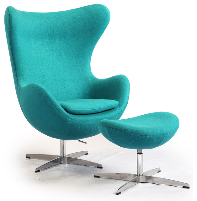 Wing chair with ottoman - Kardiel Egg Chair Amp Ottoman Turquoise Boucle Cashmere