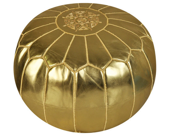 Moroccan Gold Metallic Ski Leather Pouf - Spice up your home with an exotic Moroccan leather pouf. Hand stitched by artisans, this durable pouf is topped with a traditional design and comes in a variety of styles and colors. Use it as footstool, extra seating or a fun addition to your playroom. It'll become a great conversation piece — and functional.