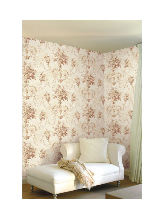 Vintage Wallpaper - Pretty vintage floral urn wallpaper available from Brewster Home Fashions