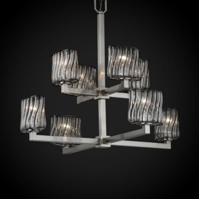 Justice Design Group Wire Glass WGL-8828-30-SWCB-NCKL Modular 8-Light 2-Tier Cha modern-chandeliers