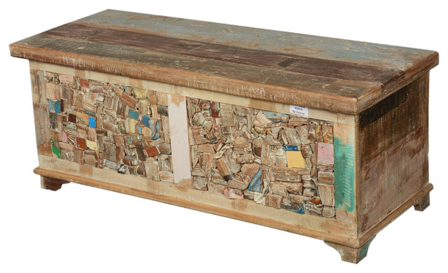rocky mosaic reclaimed wood standing coffee table chest. Black Bedroom Furniture Sets. Home Design Ideas