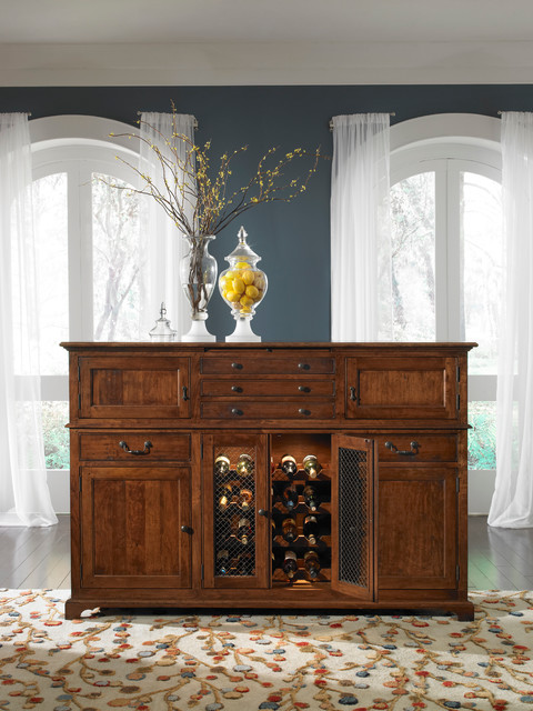 Brighton Buffet With Seeded Glass Doors And Wine Rack