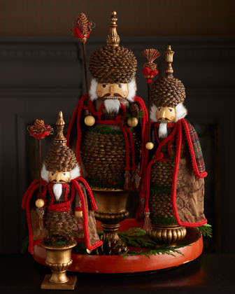Three Pine Cone Nutcrackers traditional-holiday-decorations