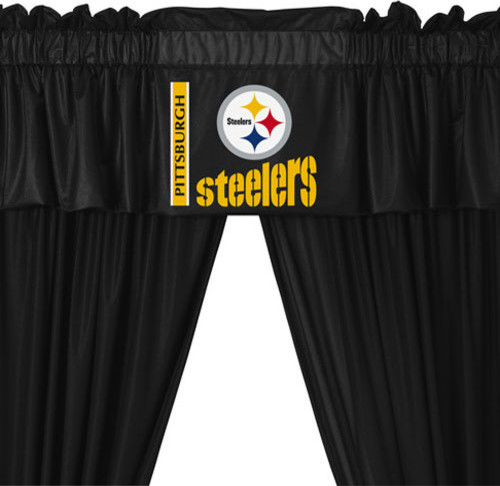 Nfl pittsburgh steelers football 5 piece valance curtains set contemporary curtains by
