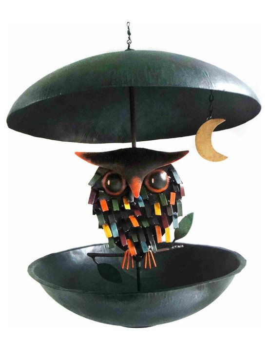 Blue Handworks - Spiky Owl Bistro Bird Feeder - Spiky owl with moon feeder by Blue Handworks. Handcrafted in Bali of powder-coated metal. Roof and drainage holes help to keep the seed dry. Charming garden decor with or without the seed. Makes a great gift.