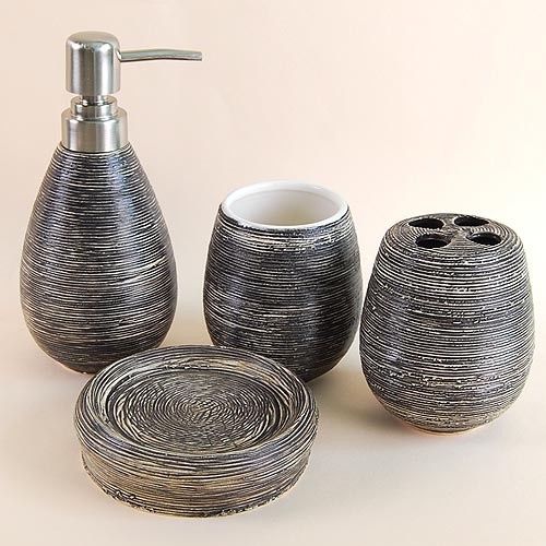 Black stripe ceramic bath accessory set contemporary for Black bath accessories sets