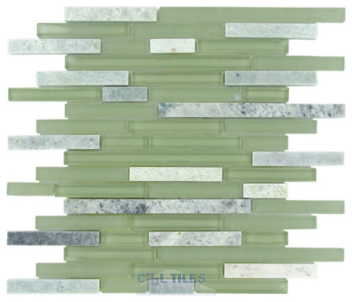 Diamond Tech Glass Tiles - Impact -Staggered Glass Mosaic Tile in Green Tea tile