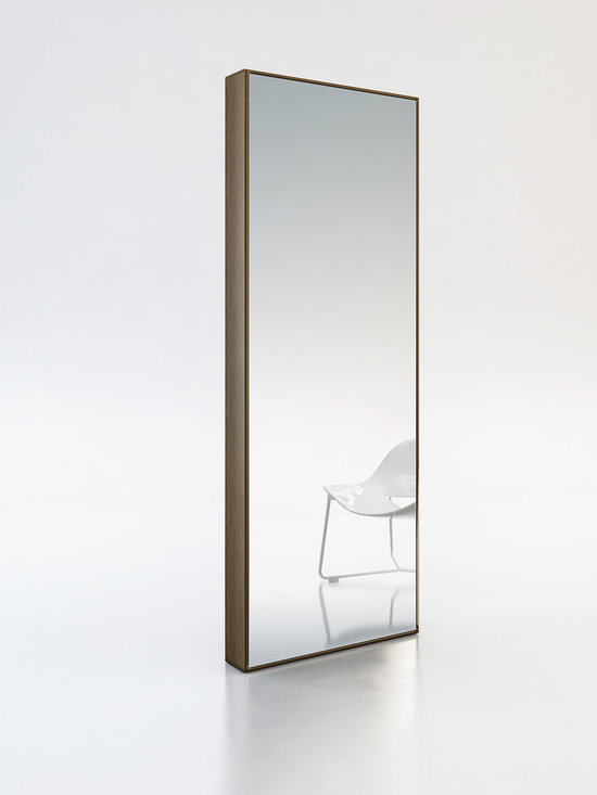 Greene Contemporary & Modern Mirror by ModLoft - The Greene mirror stands almost six feet tall, supported by a sturdy box frame. Display it as a traditional floor standing mirror or mount it to the wall as a horizontal fixture for a nouveau look around the home. The Greene is the perfect accessory to brighten and open any space within the room. Available in wenge or walnut wood finish. Imported.
