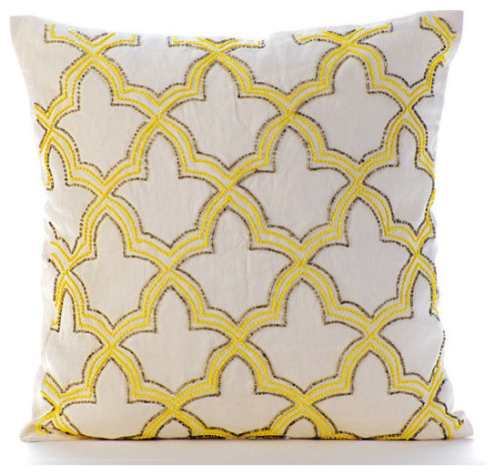 Yellow Sunset Taj Yellow Linen Euro Sham Cover, 26x26 - Transitional - Pillowcases And Shams ...