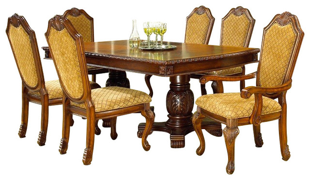 formal cherry finish dining room set featuring fabric