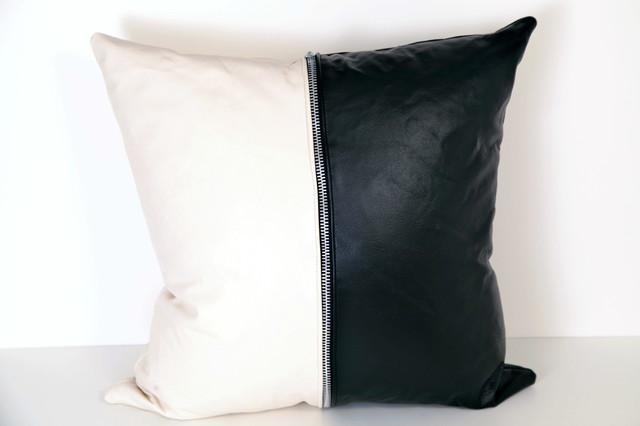 White Leather Throw Pillow : Color Block Black and White Leather Pillow Cover - 20x20
