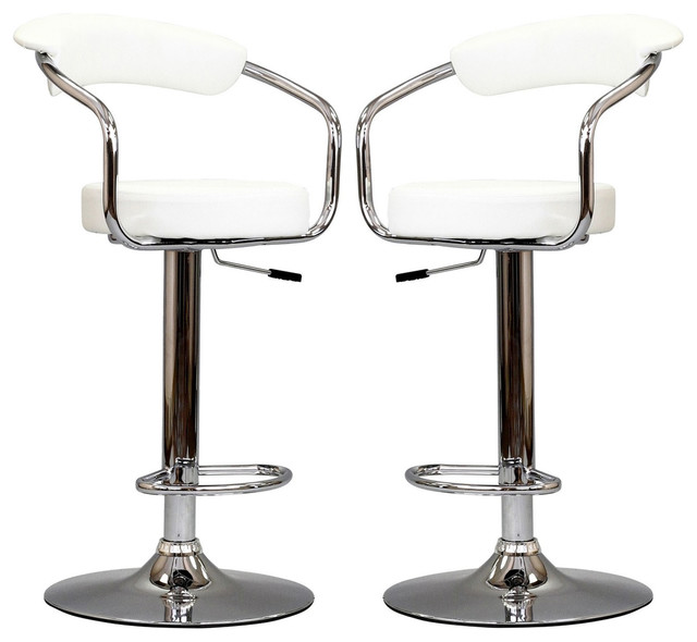 Two 50 S Diner Bar Stools In White Modern Bar Stools