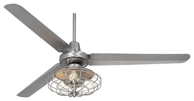 "60"" Casa Turbina Brushed Steel Ceiling Fan Farmhouse Ceiling Fans"