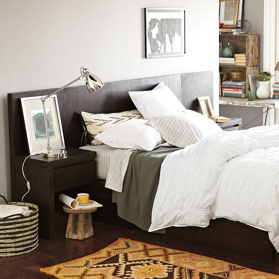 Storage-Bed Headboard, Chocolate modern beds