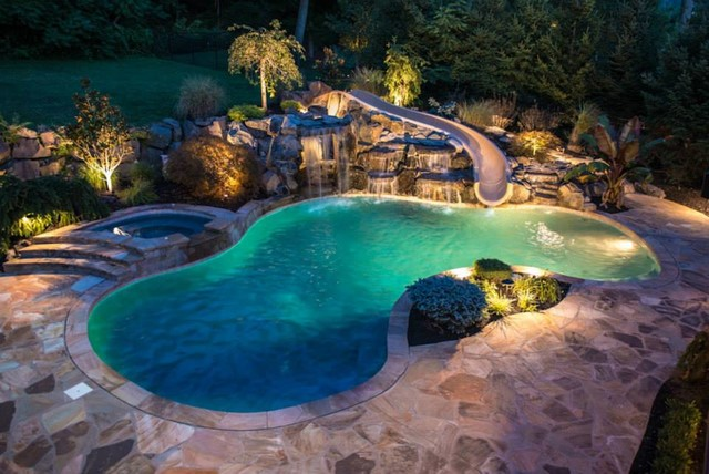 Fawn skin water slide mediterranean hot tub and pool supplies