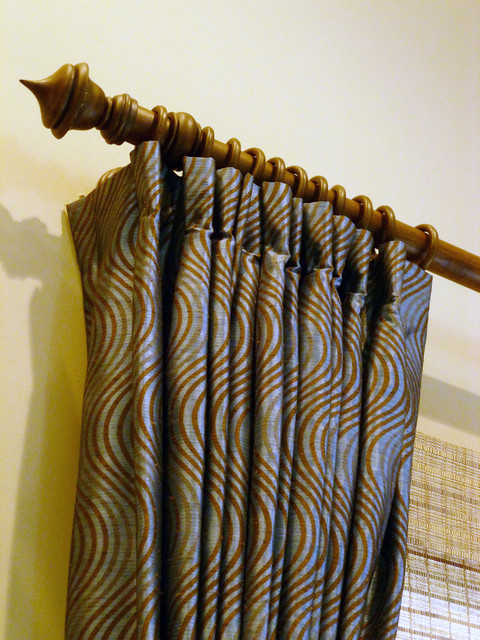 Blue and Brown Drapes traditional-living-room