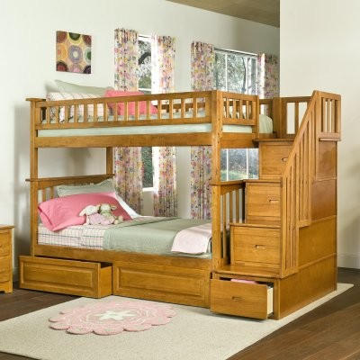 Columbia Twin over Twin Stairway Bunk Bed modern-beds